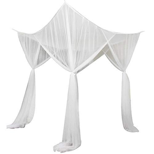 JYCRA Zanzariera per letto matrimoniale, rettangolare, tinta unita, con 4 aperture, facile installazione, Poliestere, bianco, 190cm x 210cm x 240cm