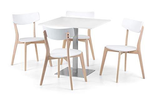 Julian Bowen Pisa White Dining Table & 4 Casa Chairs, White