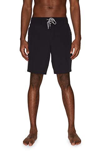 """Spyder Men's 9"""" Laser Cut Zip Logo Hybrid Board Short, Jet Black, Medium"""