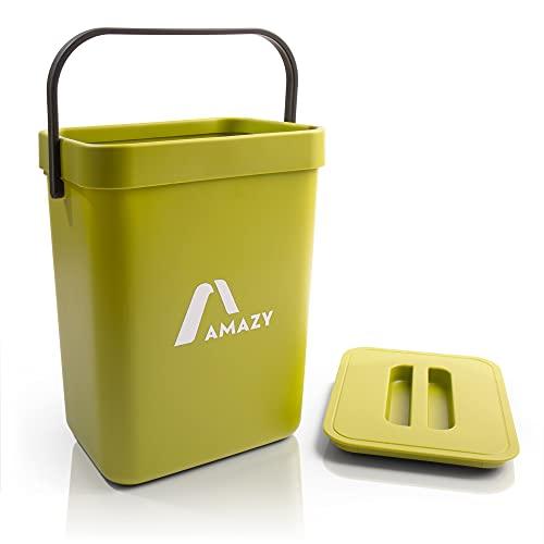 Amazy Cubo de basura de cocina de 5 litros, cubo de basura orgánica de plástico con asa y tapa, incluye almacenamiento para colgar en el armario