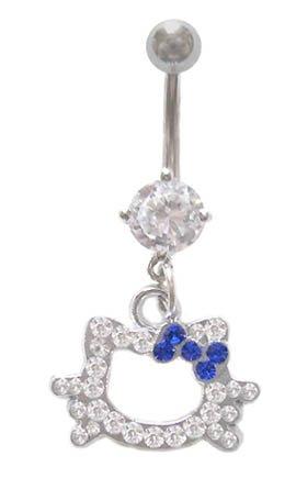 Hello Kitty Cz Gem Head Blue bow dangle Belly navel Ring piercing bar body jewelry 14g