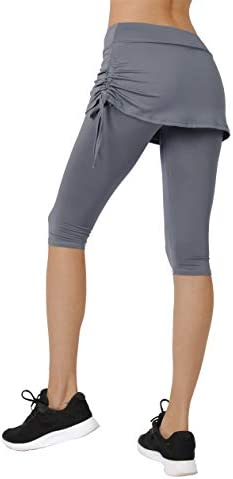 Women s Running Cropped Capri Pants Swim Skirted Sport Leggings Sun Protection l gy Grey product image