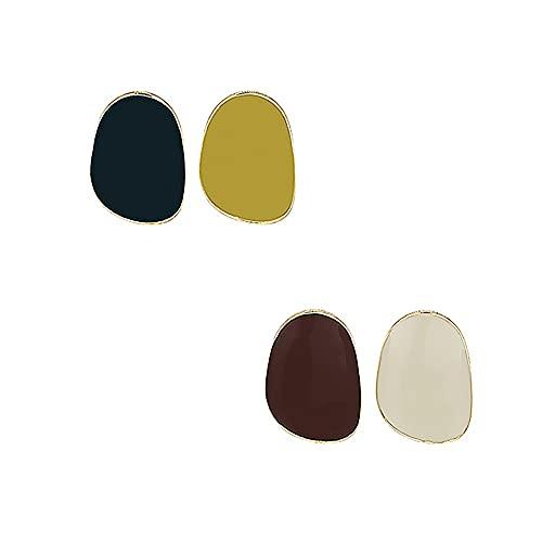 FEQEFQ 925 Ago Silver Ago Geometrico Contrasto Colore Orecchini for Borchie Morande Colore Femminile Gioielli Moda Femminile (Color : Burgundy+Beige)