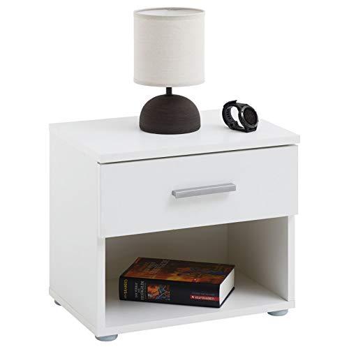 CARO-Möbel Nachttisch Nachtschrank Nachtkommode Mary weiß, 42 x 38 x 30 cm, mit Schublade und offenem Fach