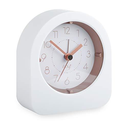 ZKIAH Reloj despertador para niños, analógico, funciona con batería, reloj despertador de noche, reloj pequeño, silencioso, sin pinchar, luz nocturna, despertador, (dorado)
