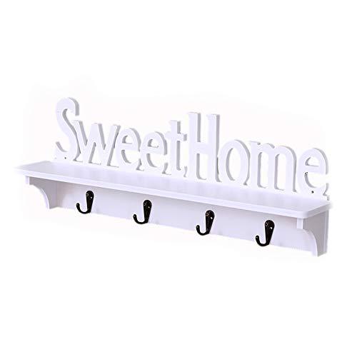 Colgador de pared con diseño Sweet Home y con 4 ganchos multifunción para colgar las llaves