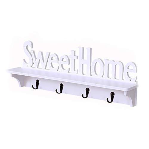 Sweet Home Design - Colgador de pared con 4 ganchos para colgar llaves