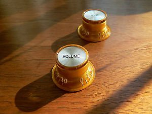 Jellyfish Audio ámbar dorado falda sombrero tono/volumen perilla par para Epiphone SG Custom Guitars