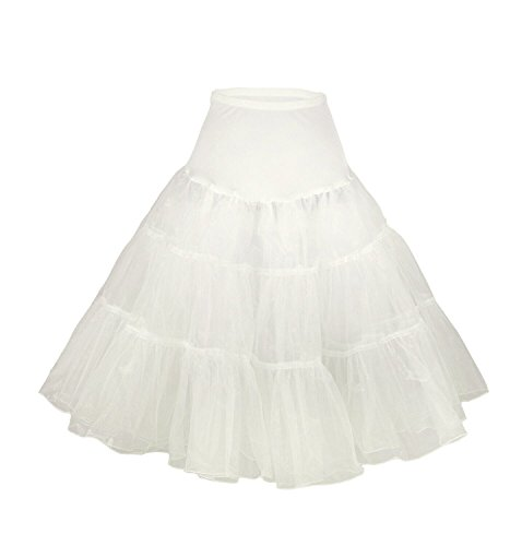Phoenix® Petticoat Unterrock Reifrock tüllrock petticoat krinoline kleid 50er hoopless Vintage Swing für Tüllrock Petticoat-Röcke Tutu, elfenbeinfarben, XS-M