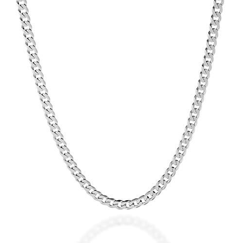 Quadri – Collar de cadena de eslabones cubanos de plata de ley 925 maciza de 5 mm de corte de diamante, para mujeres y hombres, de 40,64 a 76,2 cm, fabricado en Italia Metálico