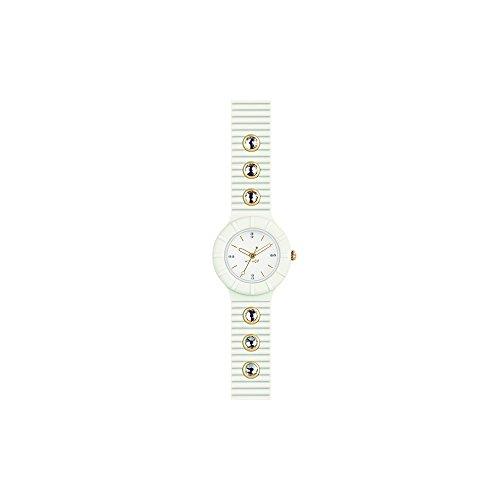 Orologio HIP HOP donna CRYSTAL quadrante bianco e cinturino in silicone, glam bianco, movimento SOLO TEMPO - 3H QUARZO
