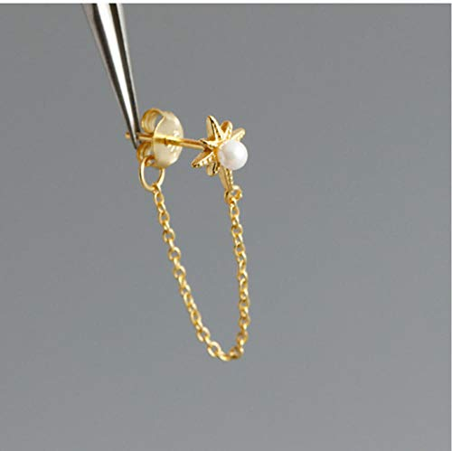 Vvff Silver Shining Star Natural Pearl Tassel Stud Earrings For Women Party Jewelry