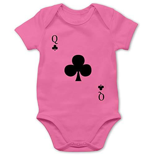 Shirtracer Karneval und Fasching Baby - Kreuz Queen Kartenspiel Karneval Kostüm - 3/6 Monate - Pink - Karneval - BZ10 - Baby Body Kurzarm für Jungen und Mädchen