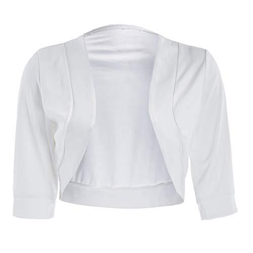 KUDICO Damen Bolero 3/4 Ärmel Open Front Festlich Blazer Kurze Strickjacke Bolerojacke Schulterjacke Jacke Cardigan Tops(Weiß, 5XL)
