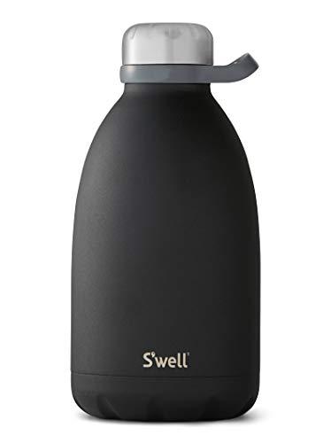 S'well Garrafa de aço inoxidável com isolamento a vácuo de 1,8 m de onyx de camada tripla mantém as bebidas frias por 72 horas e quentes para garrafa de água de viagem de 24 sem BPA, 1,8 l