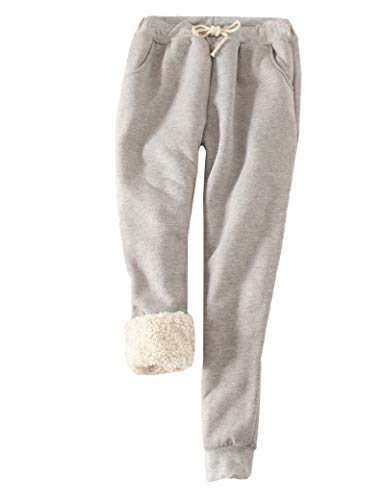 FACDIBY Women's Sweatpants Sherpa Lined Winter Warm Athletic Jogger Fleece Pants(Light Gray,S)