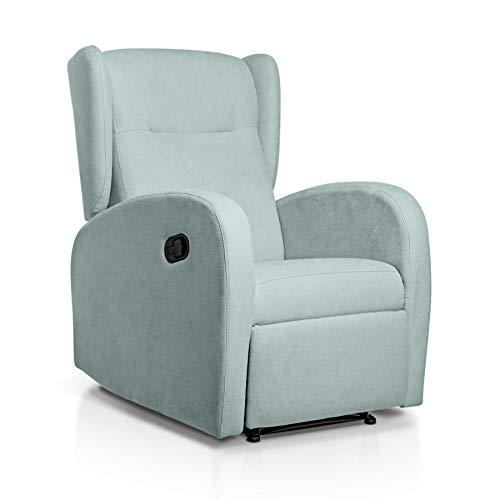 SUENOSZZZ-ESPECIALISTAS DEL DESCANSO Sillón Relax orejero Home reclinable con Pared Cero tapizado en Tela Antimanchas Tela Verde Agua