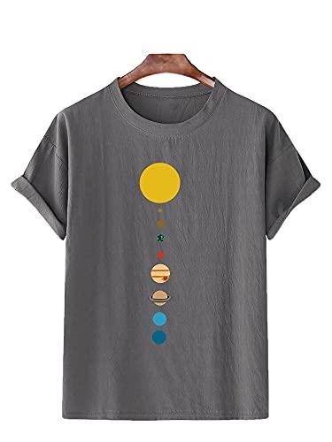 Camiseta Hombres Verano Casual Cuello Redondo Patrón Dibujos Animados Hombres Streetwear Transpirable Elasticidad Suelta Hombres Shirt Deportiva Fiesta Hombres Manga Corta I-Grey 1 L