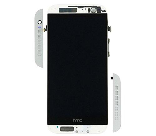 Handyteile24 ✅ LCD Display Anzeige Bildschirm Digitizer Touch Glas Touchscreen Rahmen in Silber für HTC One M8s
