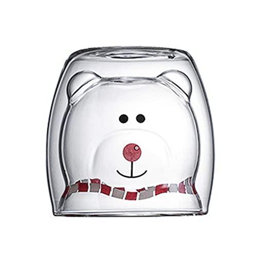 Dulces tazas de cerveza, tazas de café, vasos de té, vasos de café, vasos de doble pared, vasos aislantes, diseño de oso y gato, taza de leche, taza de café, taza de cappuccino, regalo para Navidad