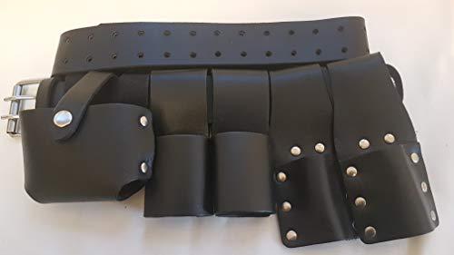 Juego de herramientas de piel resistente para andamios con cinturón de calidad completa y ranas, incluye soporte para llaves de carraca y martillo, negro