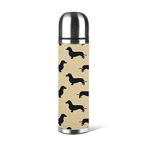 Short Hair Dachshund Cream Pattern Sausage Dog Stainless Steel Leak-Proof Vacuum Insulated Flask Pot Sport Double Wall Water Bottle Leather Thermo Jug Travel Coffee Mug 17 oz