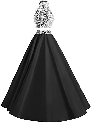 HUINI Ballkleider Zweiteilig Abendkleider Glitzer Prinzessin Hochzeitskleider Damen Satin Festkleider Promkleider Schwarz 34