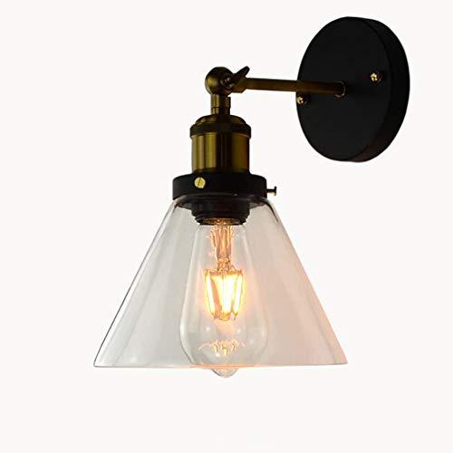 Applique Murale Intérieur Applique Antique Verre E27 En Laiton Entonnoir Support Industriel Lampe Réglable Rétro Vintage Design Luminaire Éclairage Décoratif pour Chevet Couloir Balcon Bar Ø18CM
