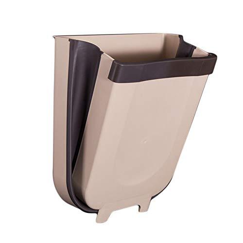 Cubos De Basura Plegable Cocina Cubo De Basura, Diseño Colgante, Reciclaje Separación Seca Y Húmeda Para Sala De Estar, Baño, Dormitorio, Coche (Gris)