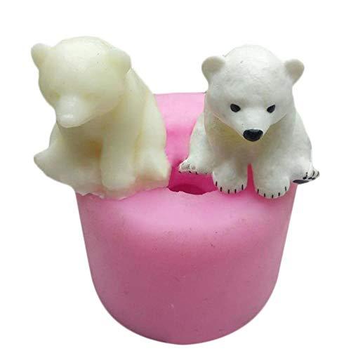 Artisanat 3D ours polaire Aromatherapy gypse voiture affichage bougie gypse moule décoration de gâteau bricolage silicone moule, rose