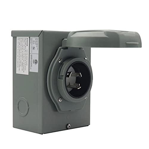 VICASKY 30 Amp Generator Power Einlass Box Generator Stecker mit Grüne Anzeige für Outdoor Receptacle Generator Steckdose Grau 125 250V