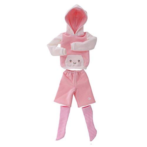 Nette Katzenohr Kapuzenpullover & Hosen & Socken Puppenkleidung Set Für 1/4 BJD Puppe - Rosa