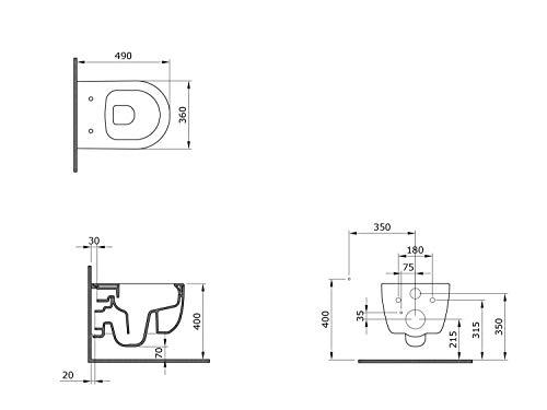 Design Hänge WC Spülrandlos Toilette inkl. WC Sitz mit Softclose Absenkautomatik + abnehmbar kurz - 4