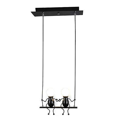 Pendelleuchte Azanaz LED Pendellampe E27 Eisen Kleine Menschen Cartoon Design Hängeleuchte Kronleuchter geeignet für Kinderzimmer,Wohzimmer, Treppe, Schlafzimmer, Deckenleuchte Hängelampe,Schwarz