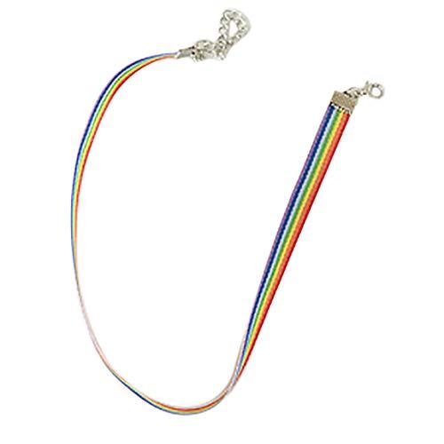 Yowablo Regenbogen Choker Halskette Homosexuell Stolz LGBT Schlüsselbein Kette Band Einfache Halskette (Bunt)