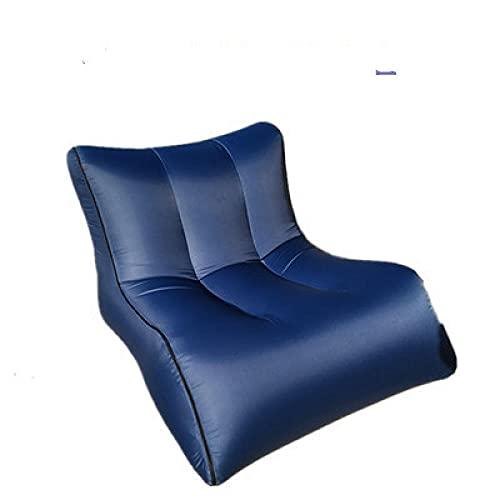 Sofá hinchable con bolsillo para exteriores, sofá hinchable, cama de almuerzo, silla de camping, color azul 2_90 x 70 x 65 cm