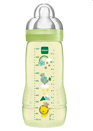 MAM Easy Active Baby Bottle 330 ml, Biberón ergonómico fácil de agarrar, biberón grande de aprendizaje, tetina MAM Nº 3 de silicona y tapa antigoteo, 4+ meses, verde
