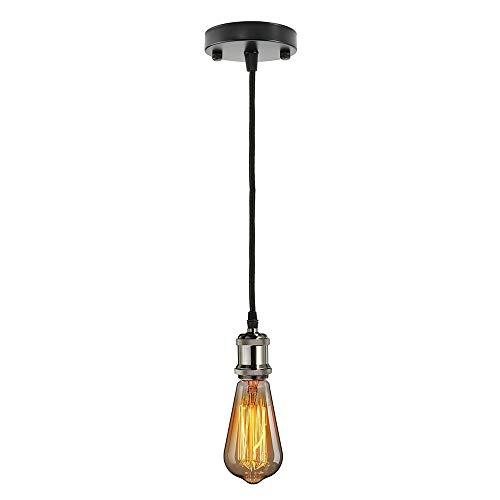 Pendelleuchte Vintage Industriestil E27 Kronleuchter Moderne Lampenfassung mit 1 m Kabel rund geflochten - antik ((schwarz)