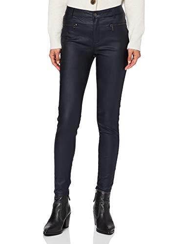 Amazon-Marke: find. Damen Skinny Fit-Hose mit Ledereffekt, Blau (Navy), 36, Label: S