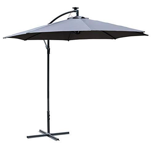 Outsunny 3m LED Patio Banana Umbrella Cantilever Parasol w/Crank Cross Base Hanging Offset Umbrella Frame Steel Aluminium Garden Table Outdoor Grey
