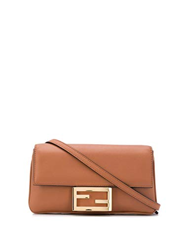 Luxury Fashion | Fendi Dames 8BS040A5DYF0V2N Bruin Leer Schoudertassen | Seizoen Permanent