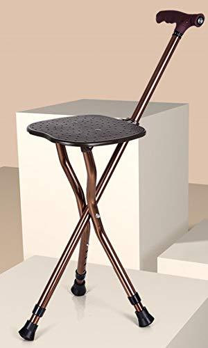 Liu Yu·casa creativa Trípode Asiento De Caña,Plegable Ligero Bastón con Heces-Portátil Ajustable Aluminio Palo para Todo Terreno,Brown