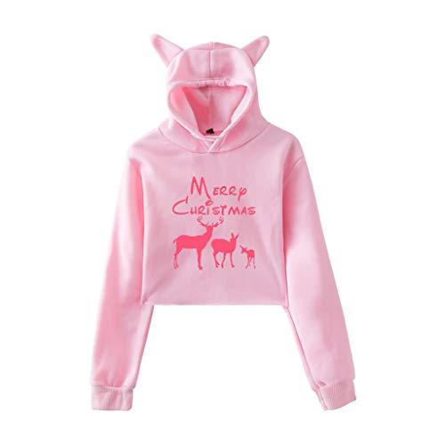 Btruely Weihnachten,Damen Hoodie Pullover Herbst Winter Mädchen Hooded Sweatshirt Kurz Mode Langarm Drucken Tops Freitag