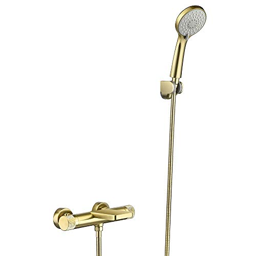 Mainen Termostato de grifo de bañera, grifo de bañera Termostato de baño dorado con protección contra escaldaduras a 38 ?, grifo monomando, grifo, grifo para bañera