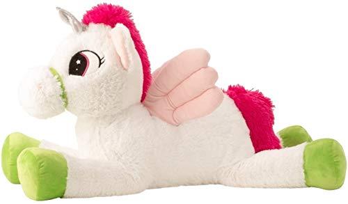 Grote eenhoorn met vleugels knuffel knuffel wit / roze XL 85 cm lang en fluweelzacht - om van te houden