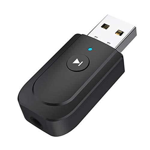 Kooshy Adaptateur USB Bluetooth 5.0, récepteur émetteur 3 en 1, récepteur émetteur Adaptateur Audio Portable avec câble Audio numérique 3,5 mm pour Casque TV PC Voiture