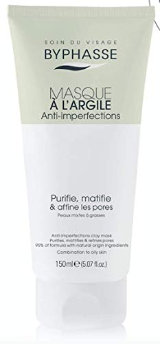 Byphasse Masque à l'Argile, Anti Imperfections, Peaux Mixtes à Grasses, Vert Pale, 150 ml