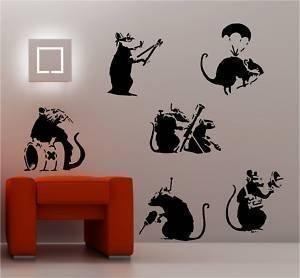 Online Design Banksy Stil Ratten X 6 Wanddekor Aufkleber Vinyl Graffiti - Schwarz