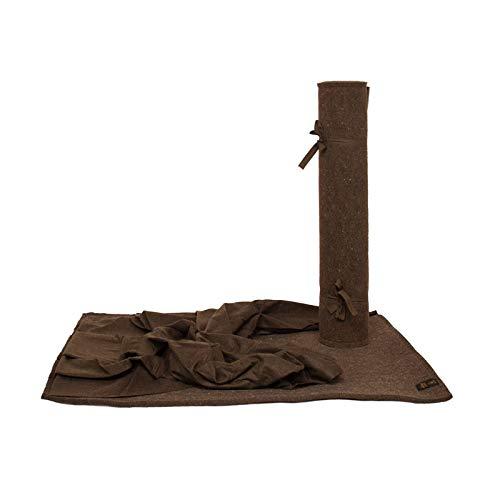 Hubertus Hundelager mit Lodendecke | Das Original | handgefertigt aus 100% Schafschurwolle | nachhaltiges bequemes Hundebett | Einrollbar mit Bändern (Maxi mit Lodendecke: 80 x 100 cm)
