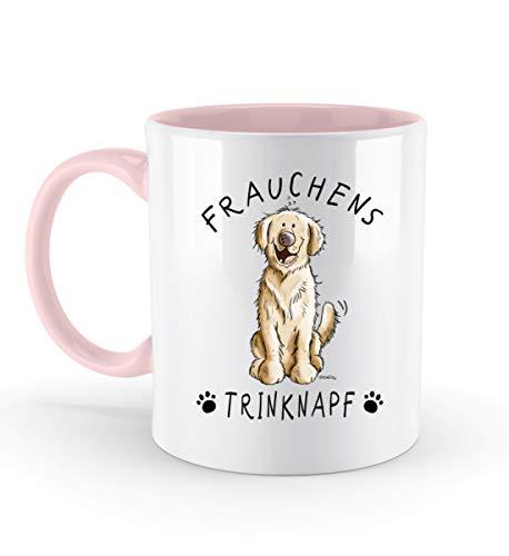 Shirtee Frauchens Trinknapf Golden Retriever I Hunde Frauchen Geschenk I Hundemotiv Kaffeetasse - Zweifarbige Tasse -330ml-Powder Pink